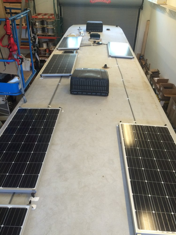 equipment added: 6x sf160 solar panels 1x roof c-box 1x victron bluesolar  mppt