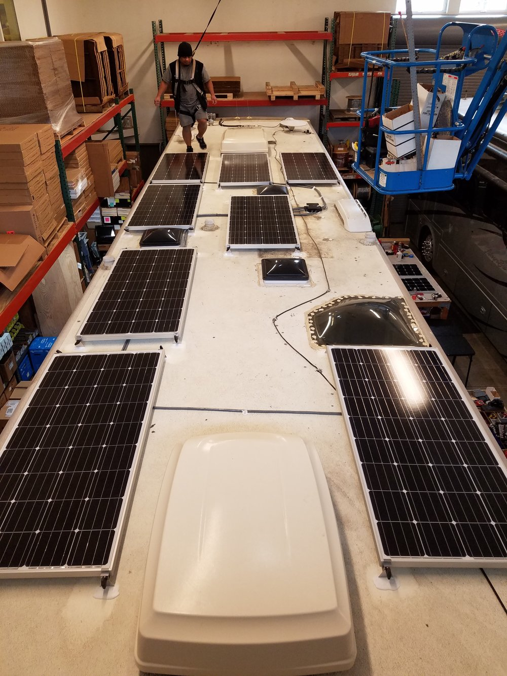 "Equipment Added:  8x 160W Solar Panels 1x Roof C-Box 4x 19.5"" Tilt Bar Sets 4x Tubes Dicor Sealant 1x Bluetooth Smart Dongle 1x Victron BlueSolar MPPT 150/100 Controller"