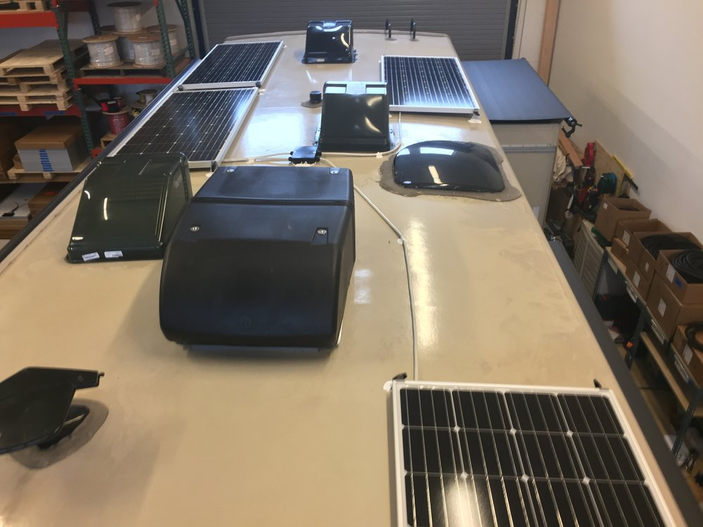 Equipment Added:  4x SF160 Solar Panels 1x Roof C-Box 1x SunRunner Signature MPPT 40A System Core 1x MS2000 Inverter/Charger Complete Kit 4x 6V 220Ah AGM 4CT Batteries