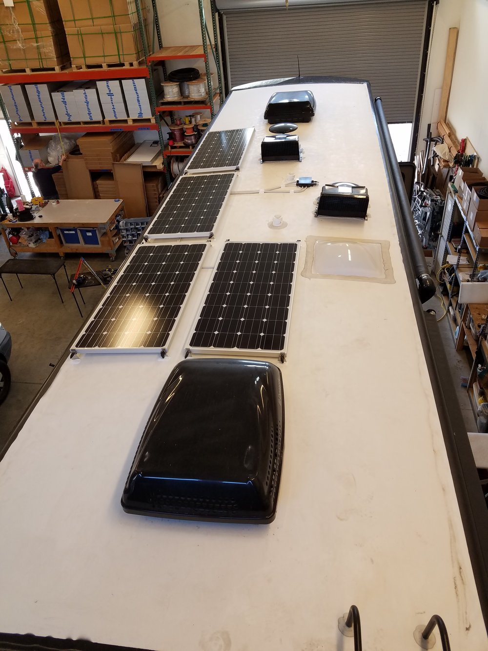 Equipment Added:   4x SF160 Solar Panels 1x Roof C-Box 1x SunRunner Victron MPPT 70A System Core 1x Victron MPPT Control System Monitor 1x Magnum MS2000 Inverter/Charger