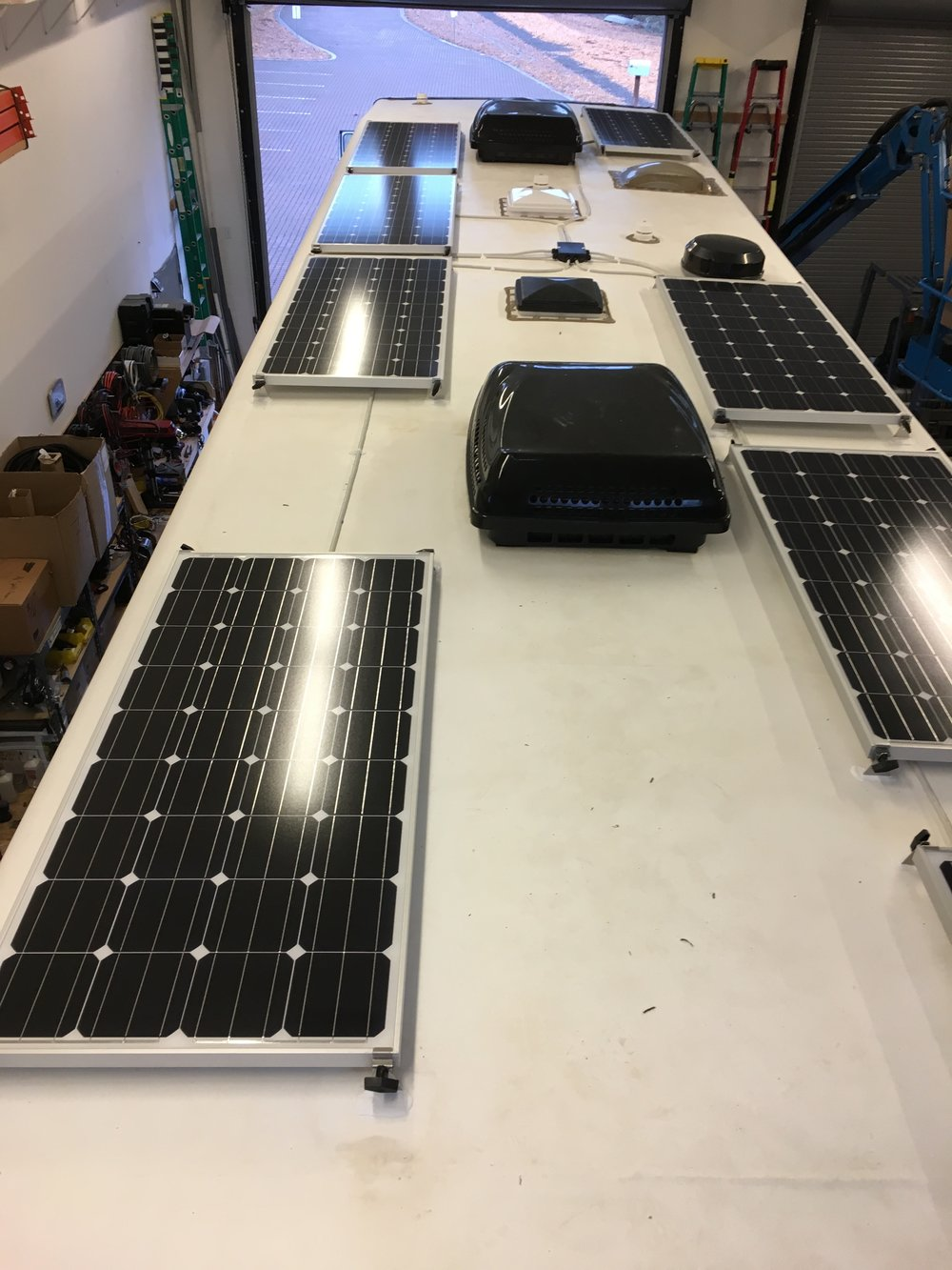 Equipment Added: 8x SF160 Solar Panels 1x Roof C-Box 1x SunRunner Victron MPPT 100A System Core 1x 900Ah Signature Lithium Battery Bank 1x Victron MultiPlus 3000VA Inverter Kit
