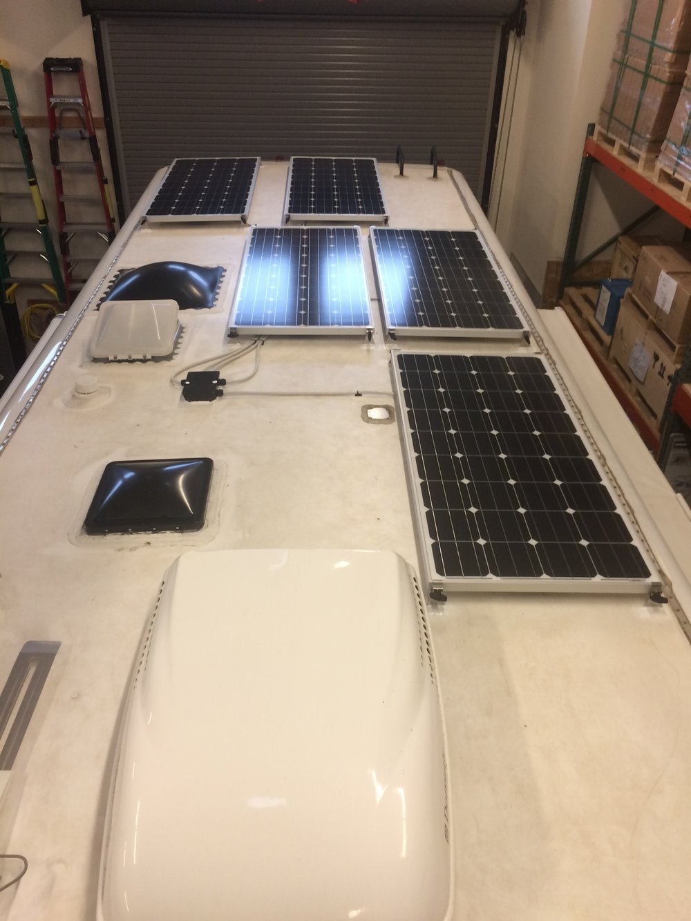 "Equipment Added:   5x SF160 Solar Panels 3x 19.5"" Tilt Bar Sets 1x Roof C-Box 1x SunRunner Victron MPPT 70A (Sub 70A controller for a 50A controller) 1x BlueTooth Smart Dongle 1x Monitor Tri-Metric 2030A 1x Tri-Metric Wire Harness Complete"