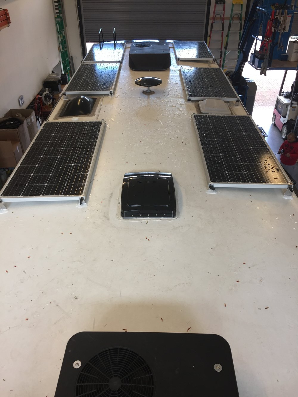 "Equipment Added: 6x 160W Solar Panel Kits 1x Roof C-Box 1x SunRunner Signature 100A System Core 1x BlueTooth Smart Dongle 3x 19.5"" Tilt Bar Sets 1x Magnum Monitor ME-BMK 4x AGM-GPL-L116 6V 400Ah Batteries"
