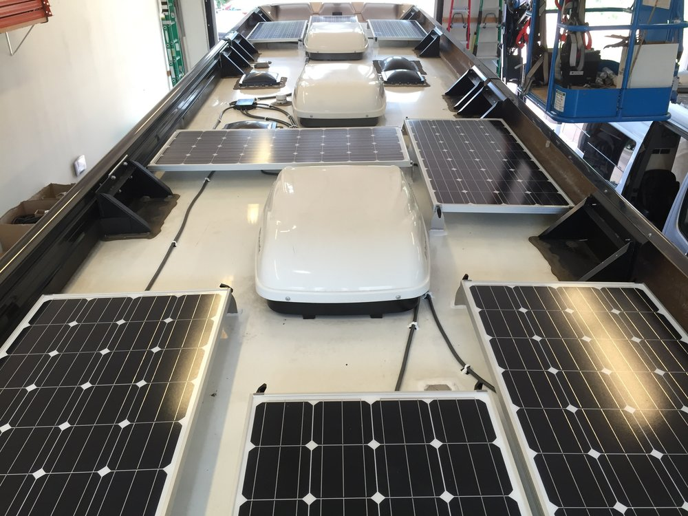 Equipment Added: 8x SF160 Solar Panel Kits 1x Roof C-Box 1x SunRunner Victron SmartSolar MPPT 150/100 System Core 8x 300Ah AGM GPL 6CTs 6V Batteries 1x BMV-702 Battery Monitor 1x BlueTooth Smart Dongle