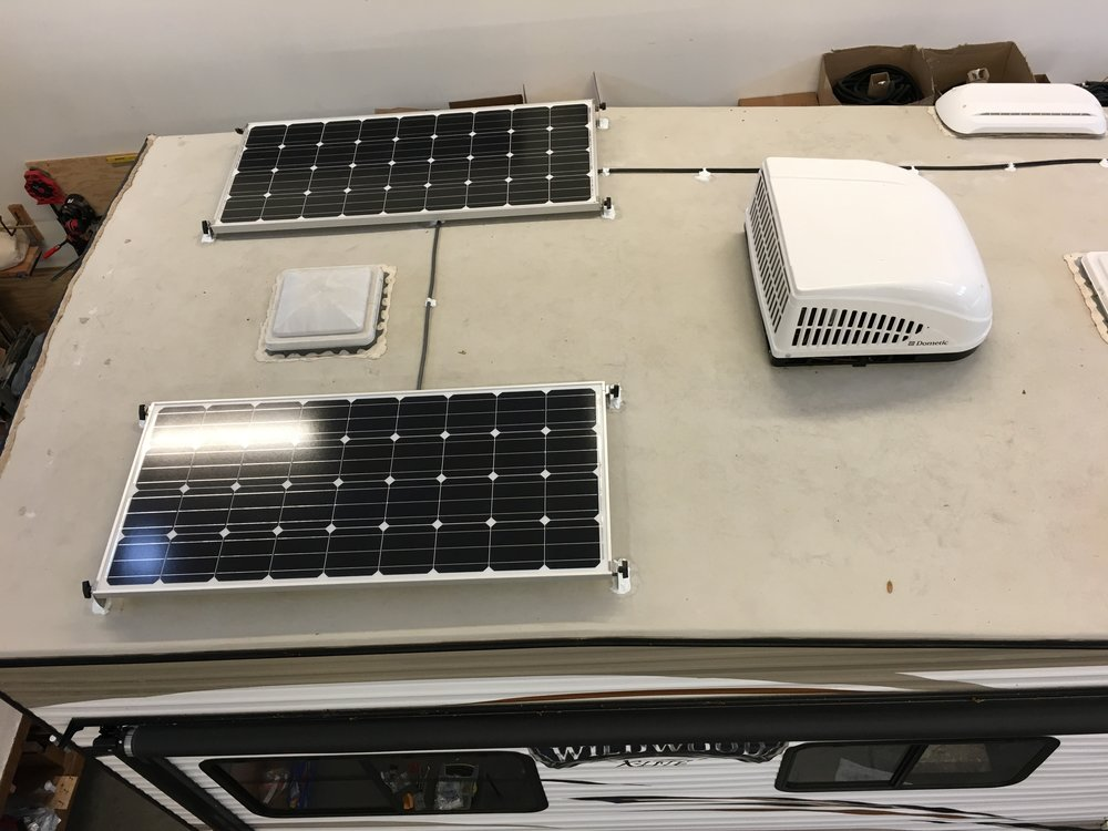 Equipment Added:  2x 160W Solar Panel Kits 1x Victron Blue Solar MPPT 100/30 Charge Controller 1x Victron MPPT Charge Control Monitor 2x AGM-GPL-4CT 6V 220Ah Battery Bank 1x Victron BMV-702 Battery Monitor 1x Daystar Meter 1x Victron Phoenix 12/250-120V Inverter Kit