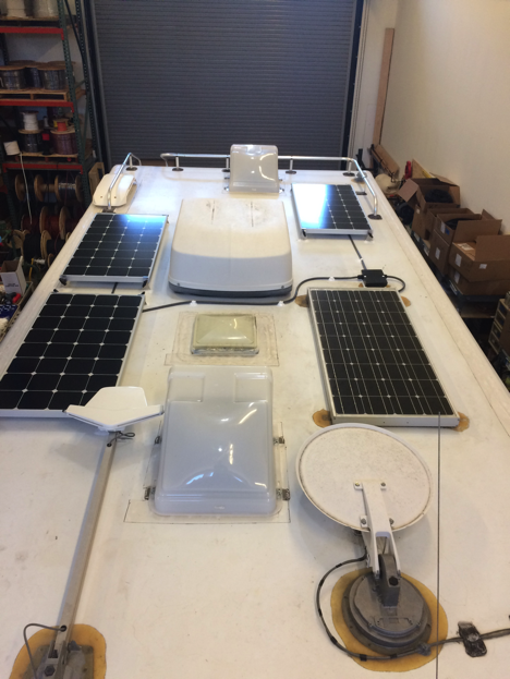Equipment Added:   3x SP100W Solar Panel Kits 1 x Victron Blue Solar MPPT 100/30 Charge Controller Core 4 x AGM-GPL-4CT 6V 220Ah Batteries 1 x Roof C-Box 1 x Victron Direct Bluetooth Smart Dongle