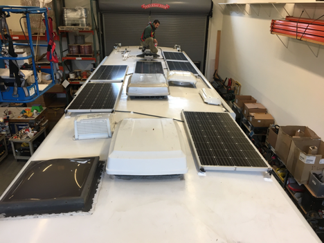 Equipment Added:  6x SF180 Solar Power Kits 1x Roof Combiner Box 1x SunRunner Victron MPPT 85A Charge Controller Core 1x BMV-712 Smart Battery Monitor 1x IPN Auxiliary Battery Wiring Harness