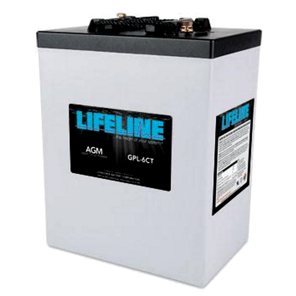 """Lifeline GPL-6CT $434.95 AGM battery 6 Volt nominal 300Ah capacity @ 20hr Length = 10.28"""" Width = 7.06"""" Height = 13.02"""" Weight = 93lbs Please call to get a shipping quote and place an order 541.726.1091"""