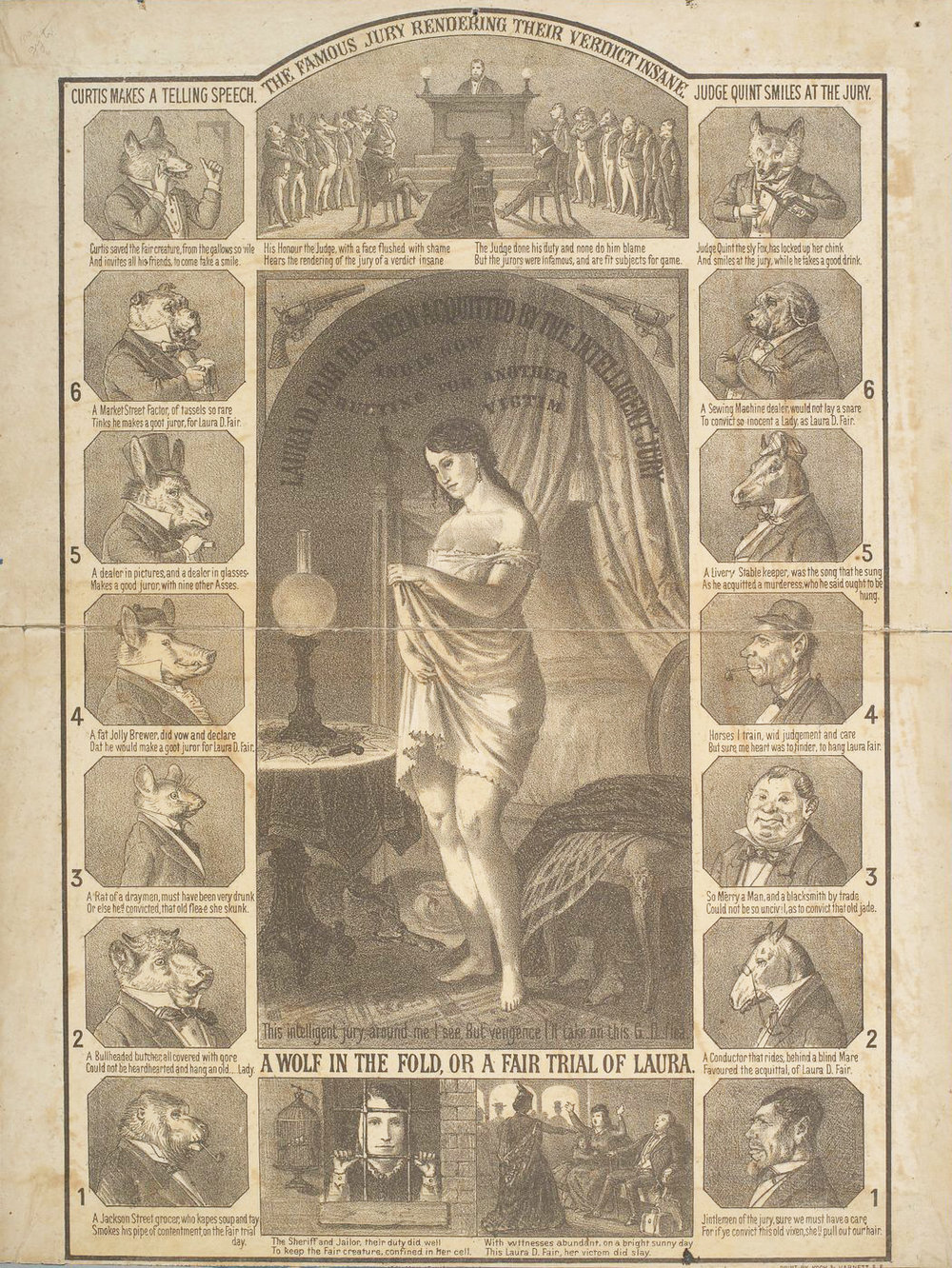 Image Credit:  A wolf in the fold, or a fair trial of Laura [D. Fair], Kock & Harnett (active 187-), American, printer, [ca. 1871], UC Berkeley, Bancroft Library