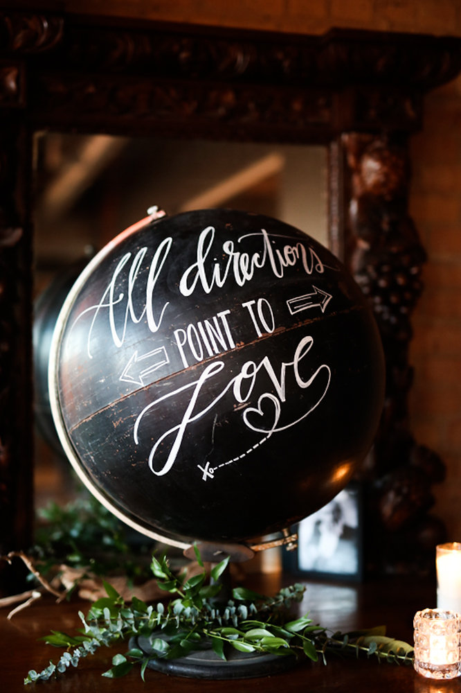 Custom calligraphy globe by Hooked Calligraphy