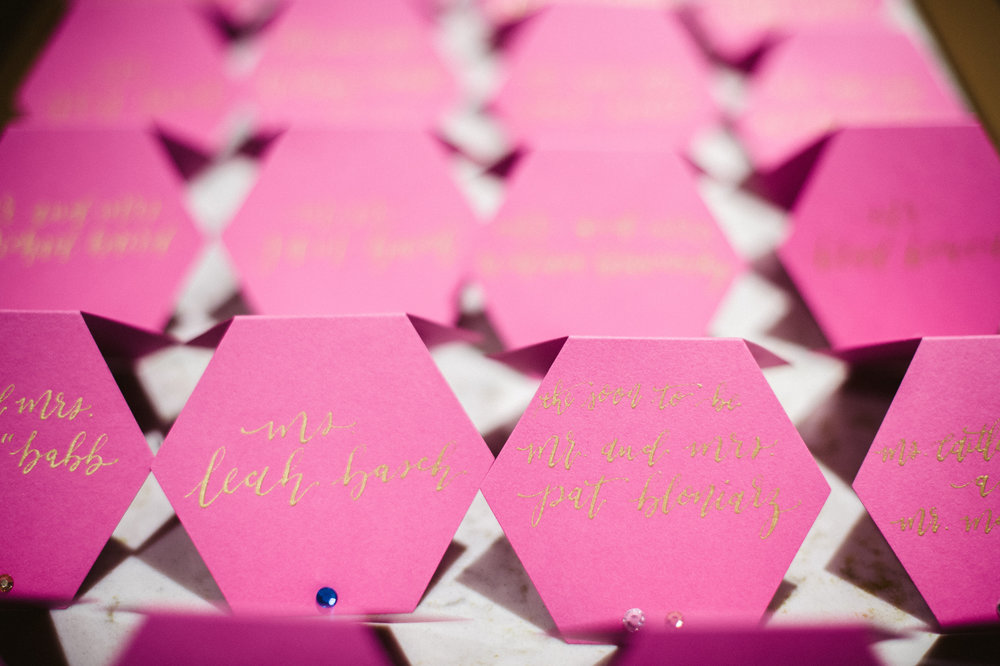 Metallic gold on bright pink hexagons!? Yes PLZ!