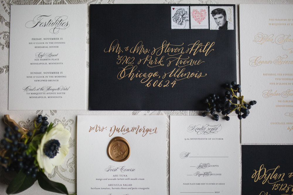 Black Tie Wedding Inspiration - Envelope and Menu Calligraphy by Hooked Calligraphy