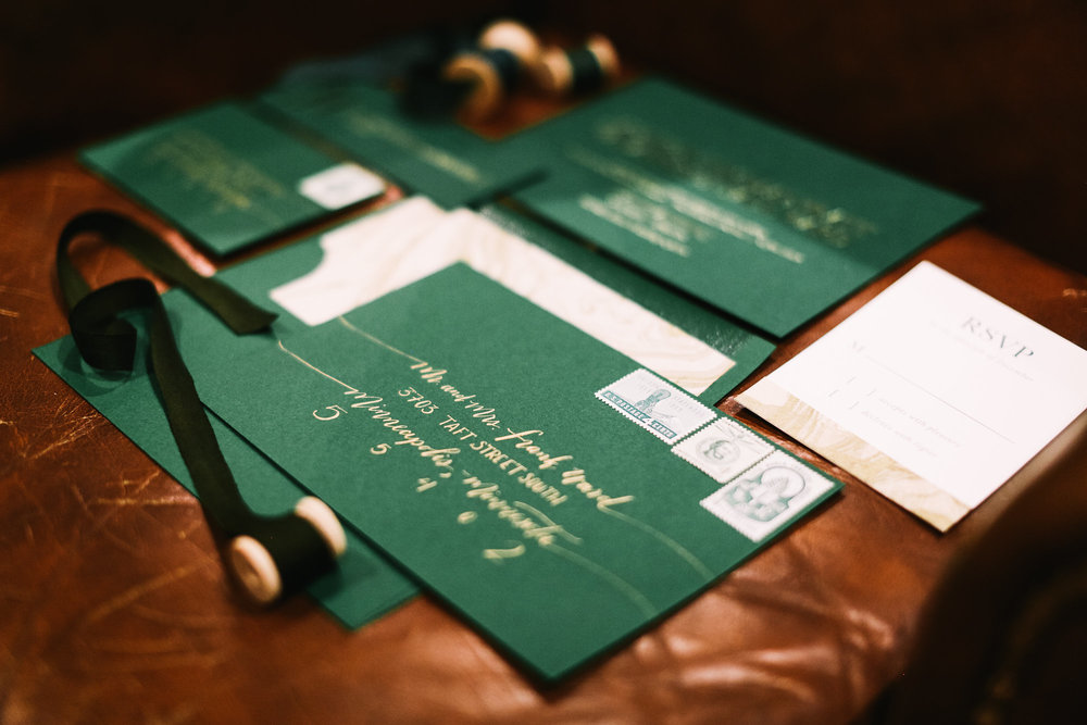 Forest Green Wedding Inspiration - Envelope Calligraphy by Hooked Calligraphy