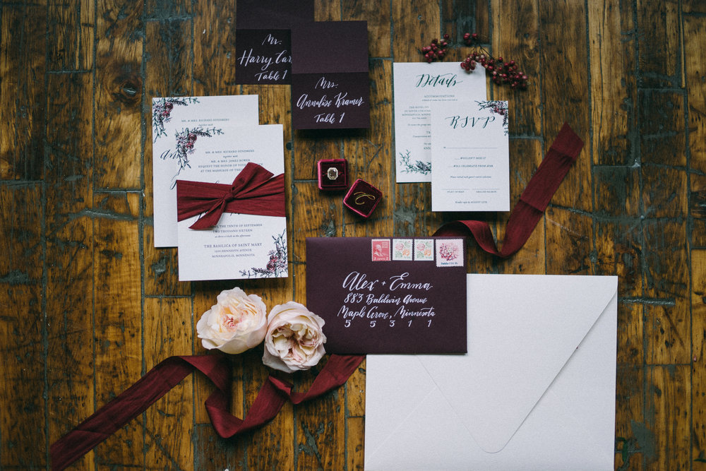 Fall Berry Hue Wedding Inspiration - Envelope and Invitation Calligraphy by Hooked Calligraphy