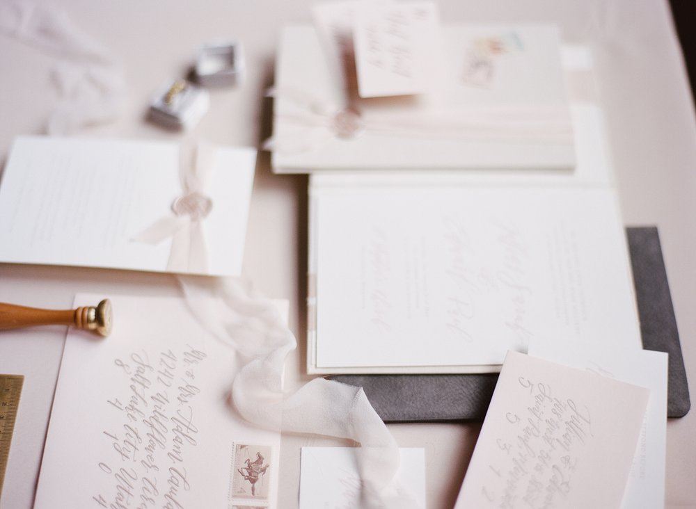 Blush + Champagne Wedding Inspiration - Envelope & Invitation Calligraphy by Hooked Calligraphy