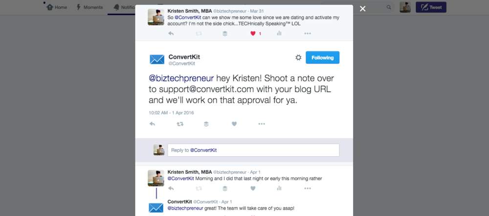 This is how customer service in social media should be done (yes, this is my sarcasm coming out for an issue but ConvertKit fixed it right away. Kudos to the team.