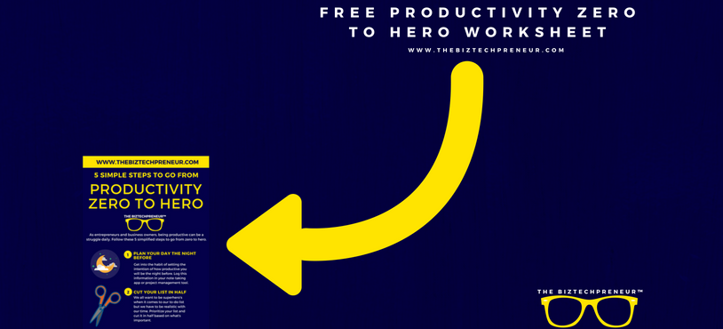 FREE Productivity zero to hero worksheet on the blog
