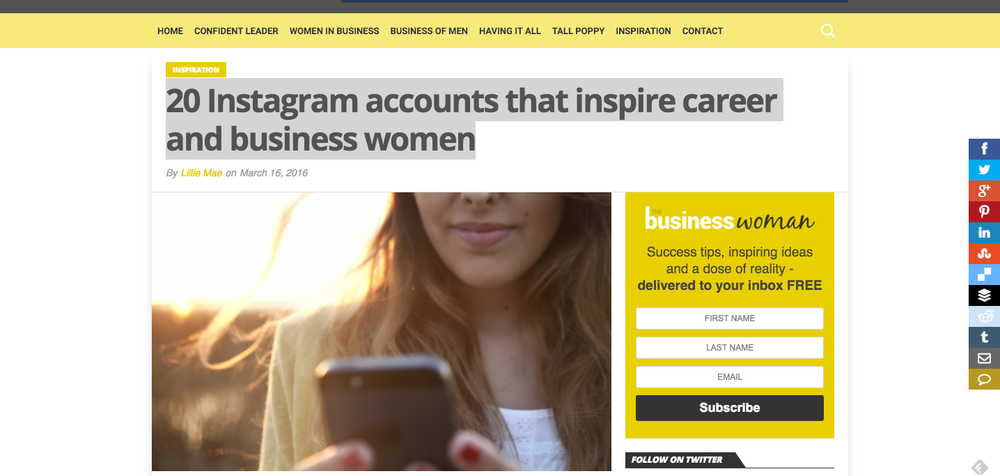 I had the opportunity to be honored amongst 19 other amazing entrepreneurs that have Instagram accounts that inspire career and business women. Check this out!