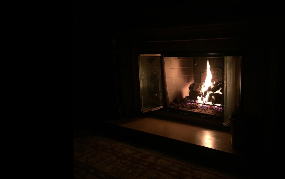 Writing by firelight in Santa Barbara on Christmas morning, 2015