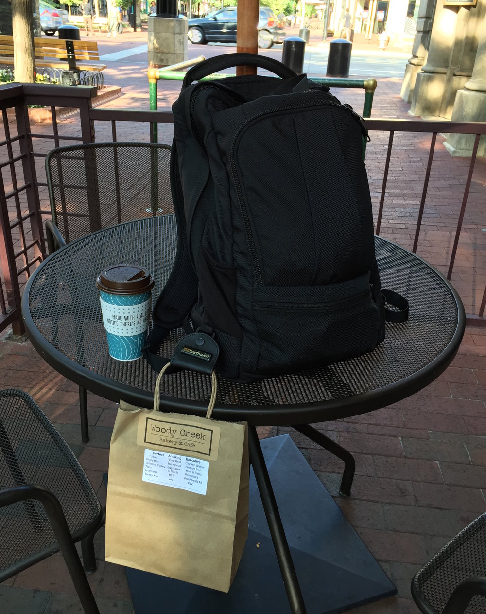 Grabbing breakfast to go on my two-mile daily trek along Pearl Street in Boulder  August 2016