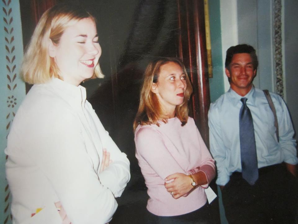 Actual photo from that day with the justices. Meet my co workers Danielle English and Cameron Gilreath. Spring 2000  Side story on Ruthy. There was a six inch riser behind the podium so she could see over the top of it. I had to physically lift her onto and off of the riser, she couldn't lift her leg high enough to climb the SIX INCH RISER. That was over 16 years ago. She still serves the Supreme Court today. Plus when I asked if I could take a picture with them on the way out O'Connor said yes and Ginsburg said no at the exact same time. The lovely O'Connor grabbed me and put me between the two of them and Capitol Hill Cop took our picture. So my extreme dislike of Justice is entirely personal, not political, i assure you.