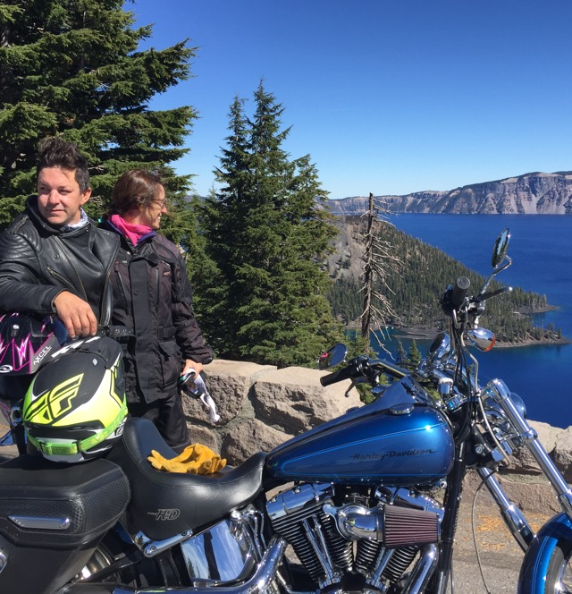 Joe has a near replica of one of my old Harleys. We took a nice ride out to Crater Lake, couple hundred miles. The lake is actually not a crater at all. It's a caldera, the ancient remains of a once very active volcano. No meteorites to find here, Dad, you can put the metal detector away.