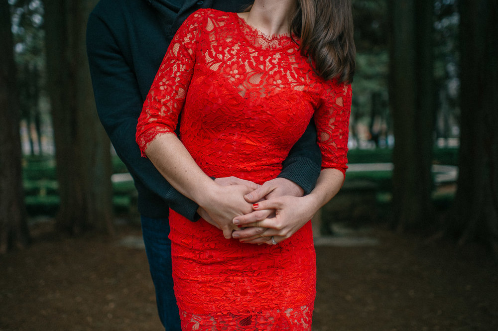 Woman in red dress getting engaged at Hidden Valley Farm