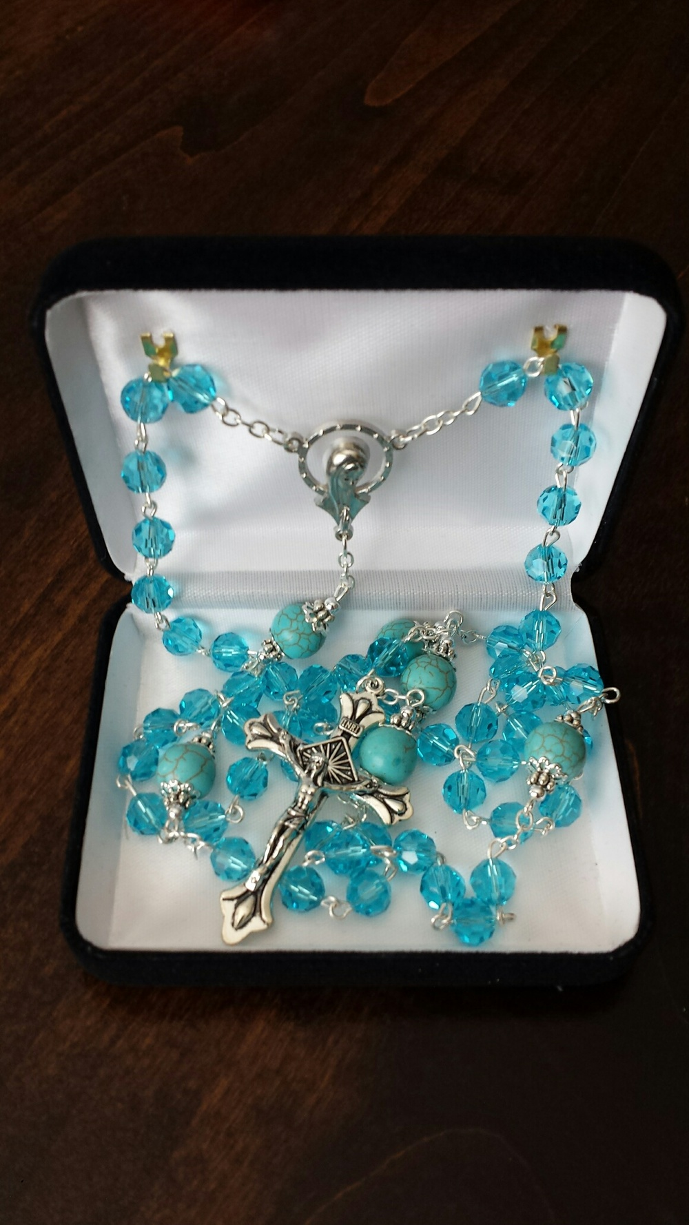 Turquoise Glass Rosary $39.99