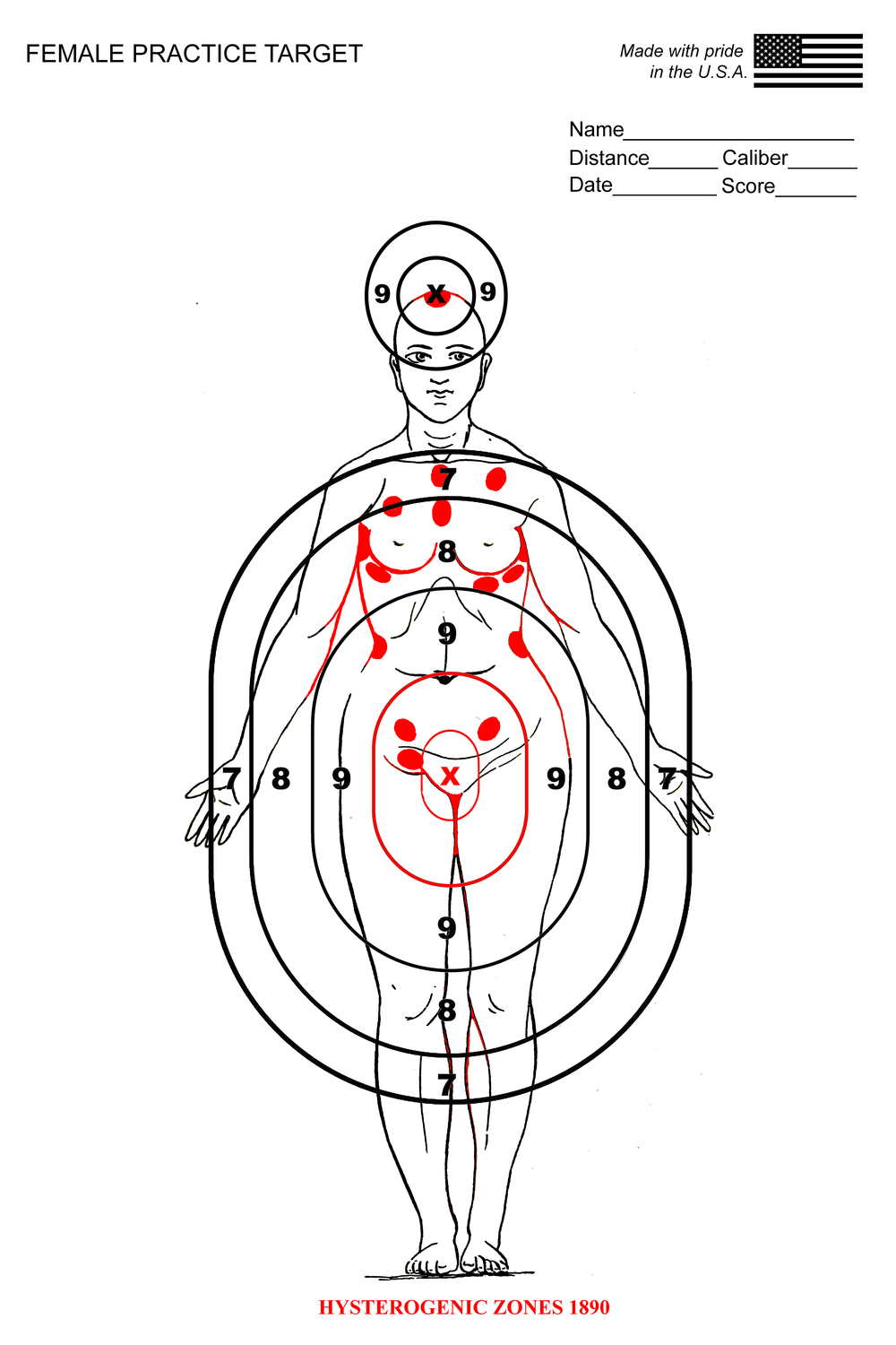 Print combining Hysterogenic Zones chart from 1890 with a contemporary shooting target, 2018