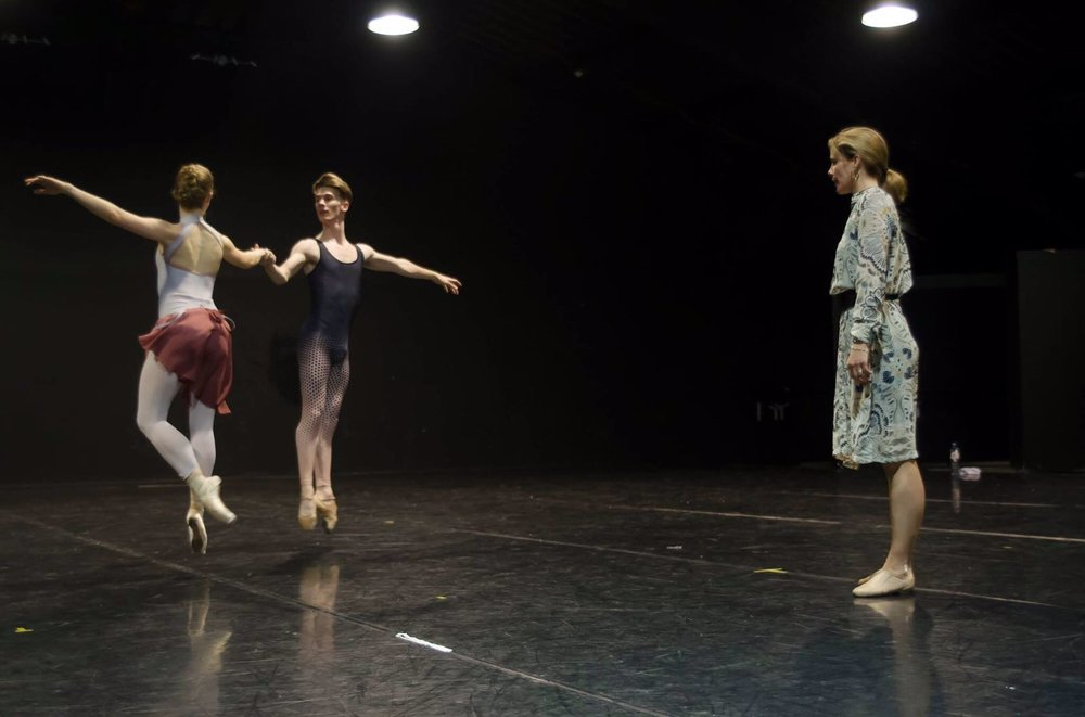 Dancing with Jimmy Parratt as Darcey watches and offers feedback