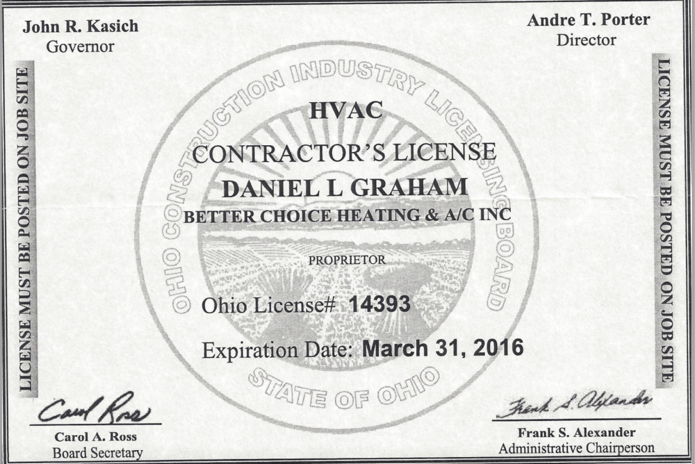 Certifications Better Choice Heating Ac Inc