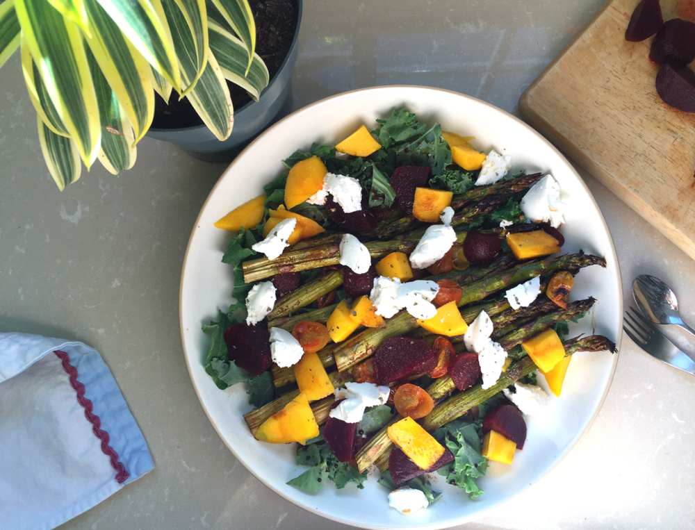 Roasted-Asparagus-Beets-Mango-Goat-Cheese-Salad