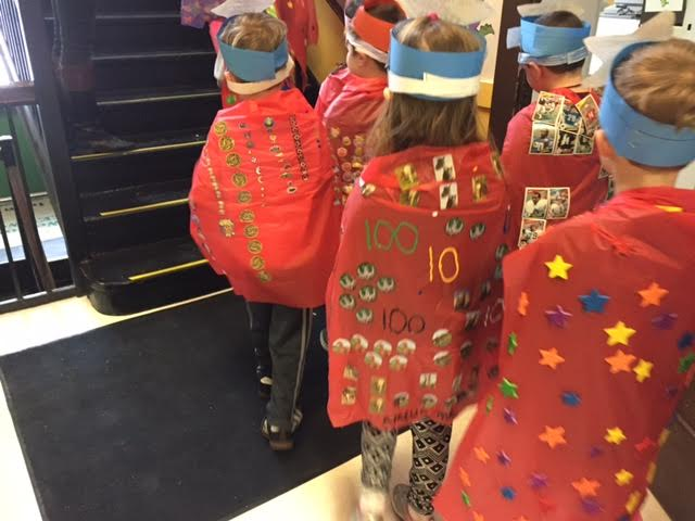 We were treated to a parade by our kindergarten students dawning all things 100 on their bright red capes!