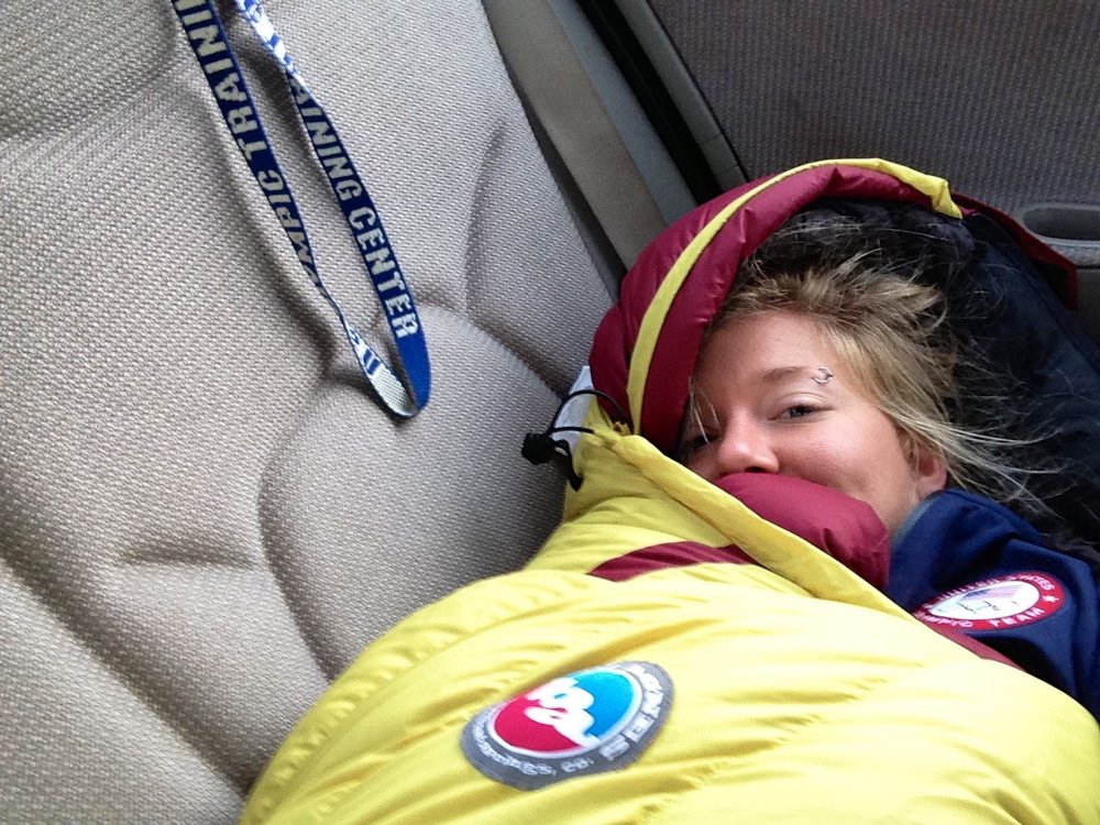 My zero degree sleeping bag made your backseat an appropriate all-season napping spot