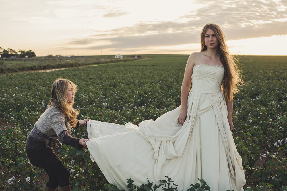 Texas. Sunrise. Organic cotton field. Perfect backdrop for Lindee and her Aubrey dress.   | Photo by Rachel Veale