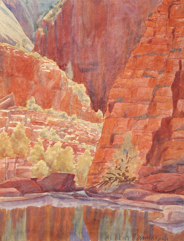 ALBERT NAMATJIRA, 1902–1959  QUARTA-TOOMA (ORMISTON GORGE) , 1939   Sold at Deutscher + Hackett, Important Aboriginal Works of Art, Melbourne,  25 May 2016 ,  for $85,400
