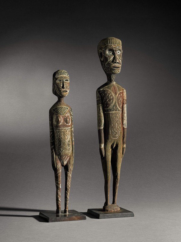 BENEDICT PALMEIUA MUNKARA, circa 1925–1978  Untitled, Male and Female Figures of Purukapali and Bima  Sold for £251,000 IBP