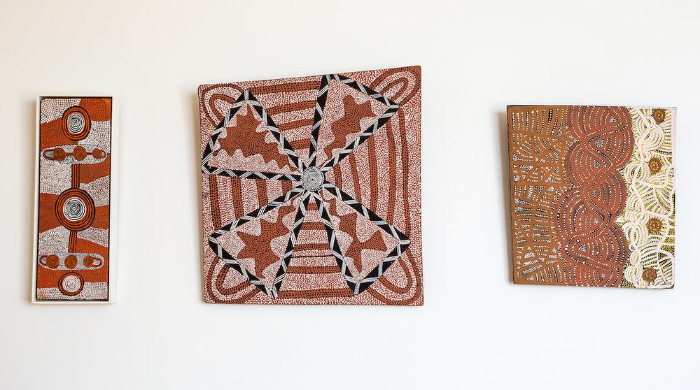 Pictured: Anatjari Tjakamarra,  Corrobboree for Doctor Men Jambajimba and Jabaljari , 1972; Anatjarri Tjakamarra,  Untitled , 1972; Walter Tjampitjinpa , Snake Dreaming , 1971