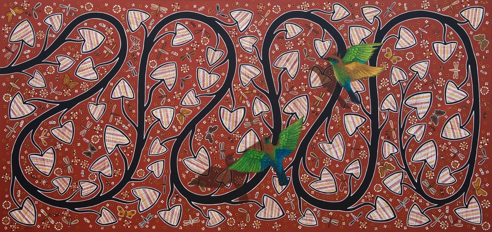 LIN ONUS, 1948–1996,  Wirrirr Wirrirr (Rainbow Birds ), 1988 synthetic polymer paint on canvas, 114 x 240 cm, $150,000 From my 2017  Annual Catalogue