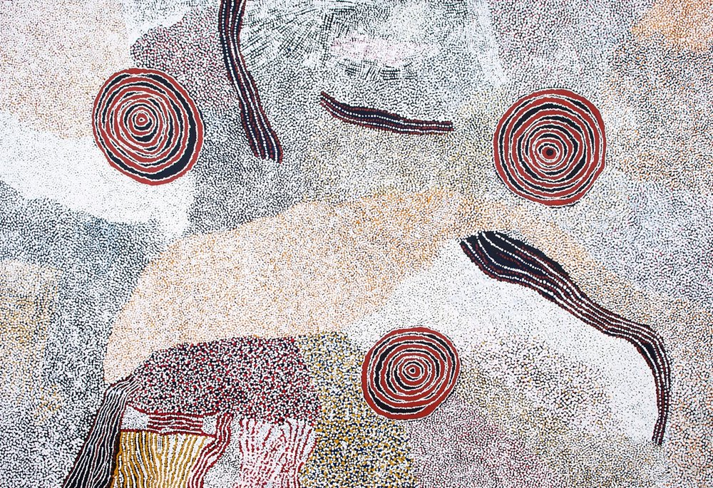 BILL WHISKEY, 1920–2008,  Rockholes Near the Olgas , 2008 synthetic polymer paint on linen, 183 x 270 cm, $70,000 From my 2017  Annual Catalogue