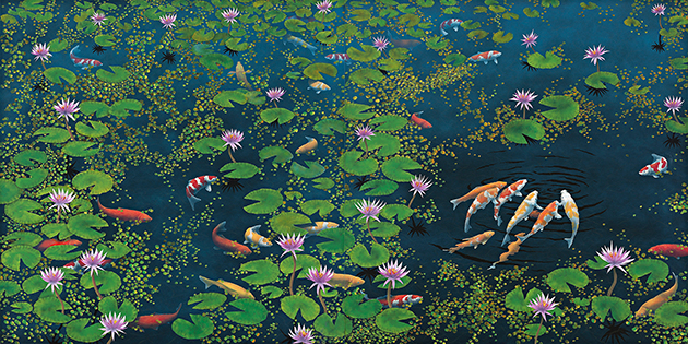 Lin Onus,  Riddle of the Koi  1994, sold for $561,200 IBP at D+H, May 2017