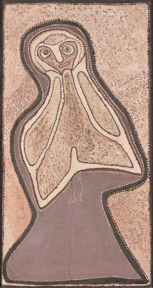 ROVER THOMAS , 1926-1998,  Tumbi (Owl) , 1989, sold at Mossgreen Auctions for  $204,600 (IBP)