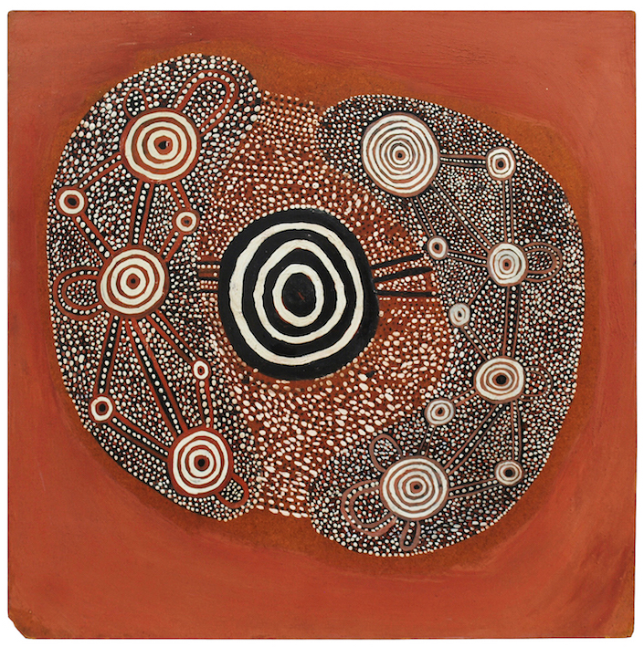 JOHN TJAKAMARRA , 1926-1998,  Untitled (Man's Dreaming),  1971, sold privately by D'Lan Davidson for  an undisclosed record artist price.