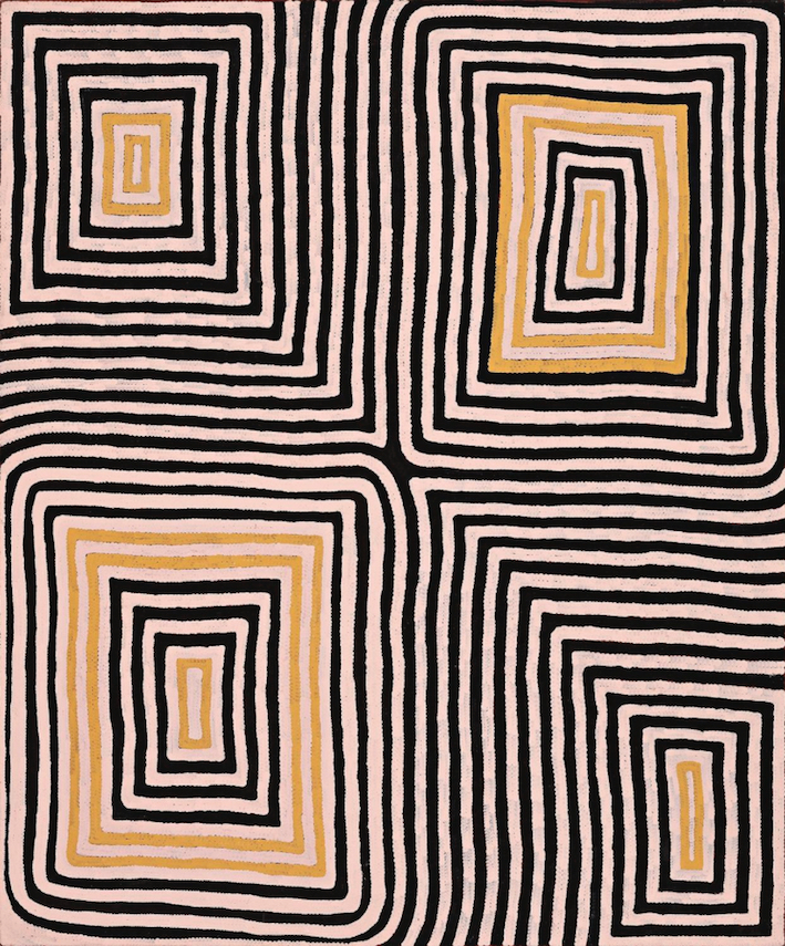 RONNIE TJAMPITJINPA , born 1943,  Wilkinkarra (Lake Mackay),  1993, sold at Deutscher and Hackett for  $151,280 (IBP) - an artists auction record price.