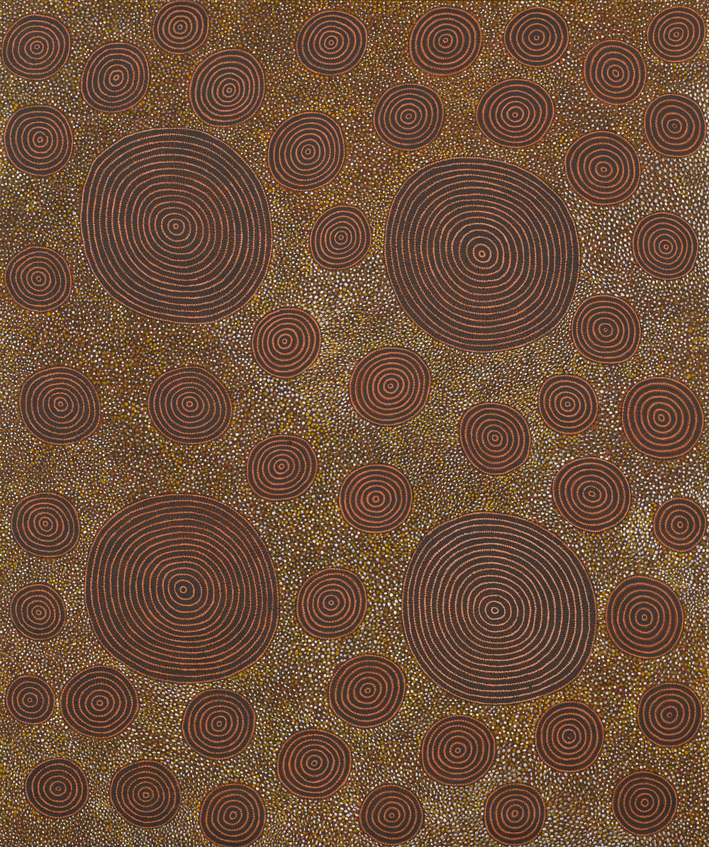 ANATJARI TJAKAMARRA 1930-1992  Ngaminya , 1989, 183 x 152 cm to be offered at Sotheby's, London, March 14