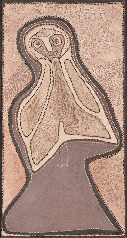 ROVER THOMAS , circa 1926-1998,  Tumbi (Owl),  1989, 120 x 64  SOLD BY MOSSGREEN AUCTIONS FOR $204,600 AUD