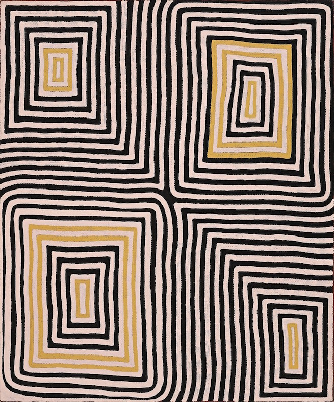 RONNIE TJAMPITJINPA , born circa 1943,  Wilkinkarra , 1993, 182 x 153 cm   SOLD BY D+H AUCTIONS FOR $151,280 AUD