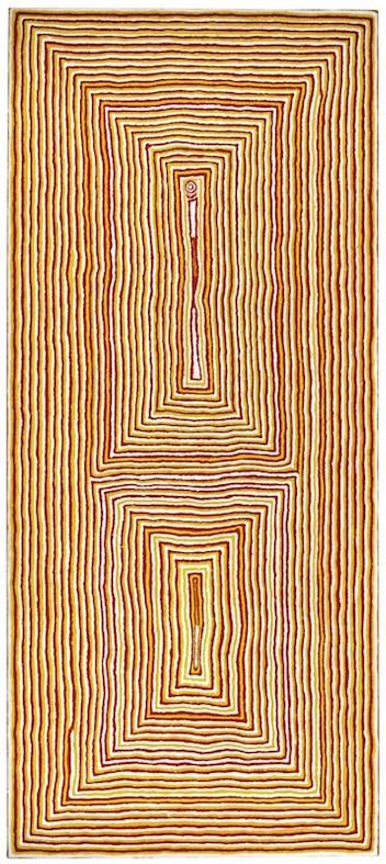 TJUMPO TJAPANANGKA , circa 1926-2007,  Wati Kutjarra at the Water Site of Mamara , 1990, sold at Sotheby's, London for  $132,923 (IBP)