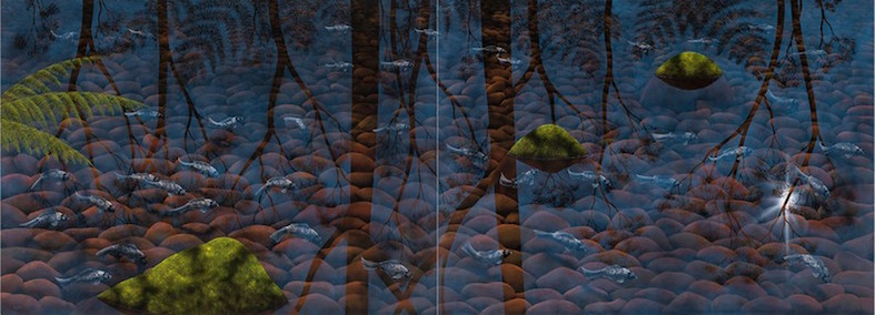 LIN ONUS , 1948-1996,  Fish, Ferns and Rocks , 1995, sold at Sotheby's Australia for  $793,000 (IBP)