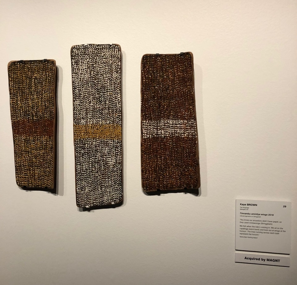Kaye Brown's three fine bark paintings -  Timrambu amintiya winga,  2018